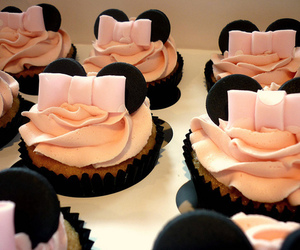 cupcake, minnie mouse, and pink image
