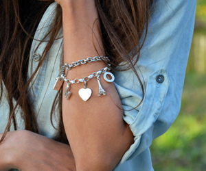 girl, bracelet, and heart image