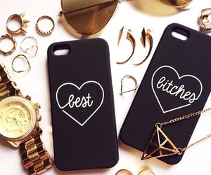 fashion, iphone case, and gold image