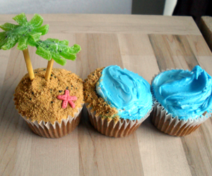 cupcake, beach, and food image