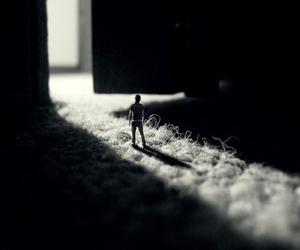 black and white, door, and small image