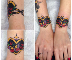 bracelet, butterfly, and heart image