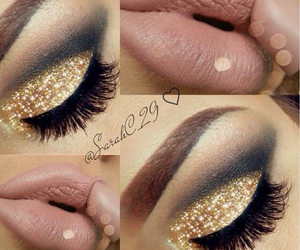 beautiful, goldglitter, and eyebrows image