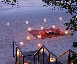 beach, romantic, and candle image
