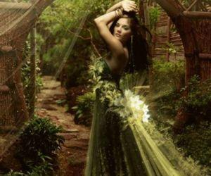 girl, dress, and green image