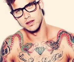 glasses, man, and shirtless image
