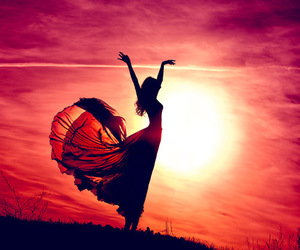 girl, sun, and sunset image