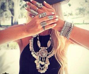 rings, necklace, and blonde image