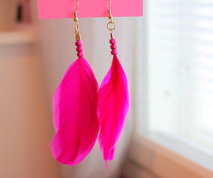 pink, earrings, and feather image