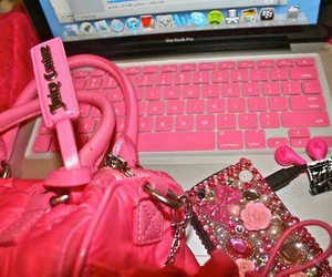 pink, bag, and computer image