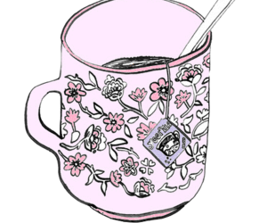 tea, cup, and flowers image