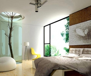 bedroom, tree, and interior image