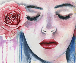 girl, art, and rose image