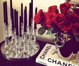 chanel, rose, and candle image