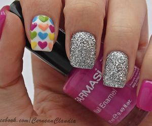 glitter, nails, and hearts image