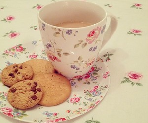 Cookies, cup, and floral image