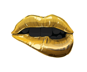 lips, gold, and black image