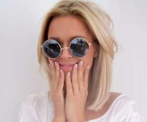 blond, girl, and sunglasses image