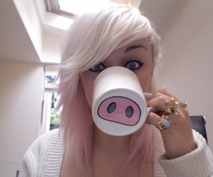 girl, pig, and blonde image