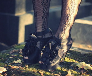 high heels, lace, and shoes image