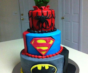 cake, superman, and spiderman image