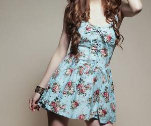 blue, floral, and dress image