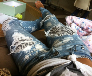 denim, leopard, and outfit image