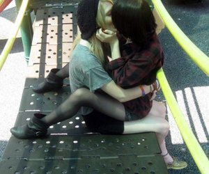 lesbian, kiss, and black and white image