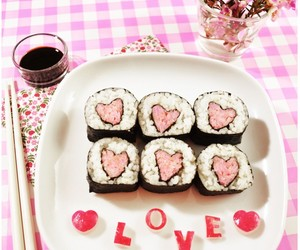 sushi, love, and food image