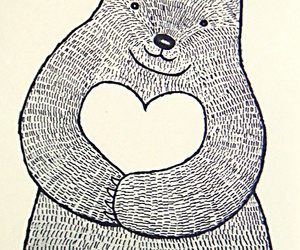 art, bear, and heart image