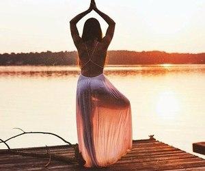 girl, yoga, and sun image