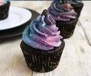 cupcake, galaxy, and food image