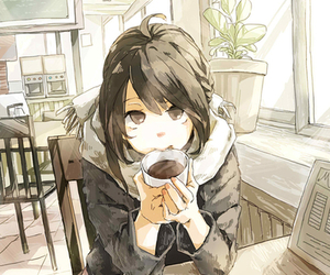 anime, girl, and coffee image