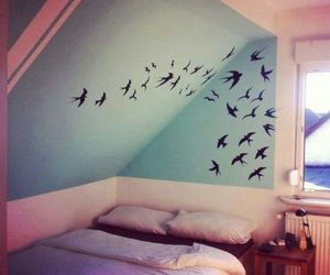 bedroom, birds, and girly image