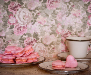 coffee, floral, and macarons image