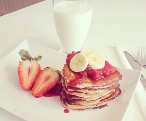 food, strawberry, and milk image