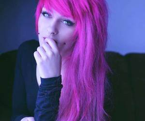 pink hair, hair, and piercing image