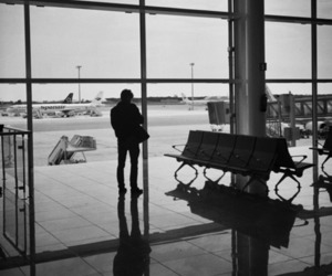 airport, plane, and travel image