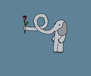elephant, rose, and love image