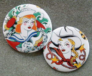 buttons, Cowgirl, and sailor girl image