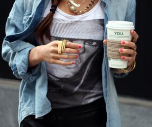 fashion, girl, and starbucks image