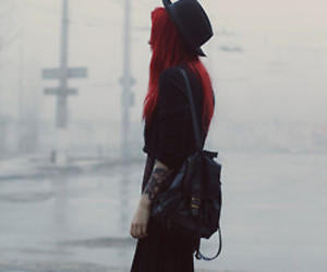 black, red hair, and grunge image