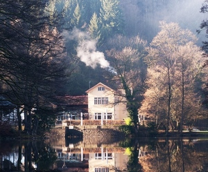 house, nature, and lake image