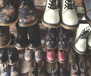 black, whte, and dr martens image