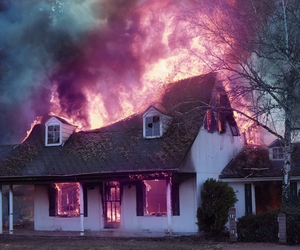 fire, house, and grunge image
