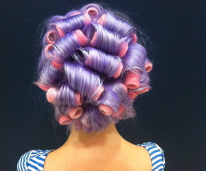 purple hair and pink rollers image