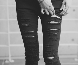 black jeans, edgy, and ripped jeans image