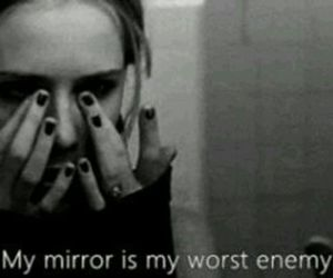 mirror, enemy, and sad image