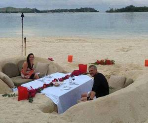 beach, romantic, and couple image