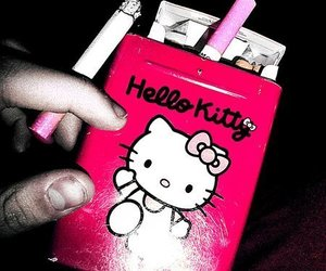 hello kitty, cigarette, and pink image